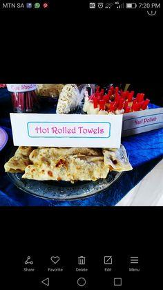 Spa party food ideas: Hot rolled towels- Roti and Curry How To Roll Towels, Spa Party, Food Ideas, Curry, Menu, Hot, Menu Board Design, Curries