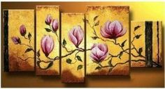 5 Pics Flowers in Full Bloom Abstract Modern Hand Painted Oil Painting on Canvas Wall Art Deco Home Decoration (Unstretch No Frame) Hand Painting Art, Large Painting, Oil Painting Abstract, Painting Canvas, Abstract Art, 5 Piece Canvas Art, Canvas Wall Art, Large Canvas, Colorful Paintings