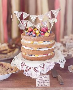 love is sweet banner and Naked Cake