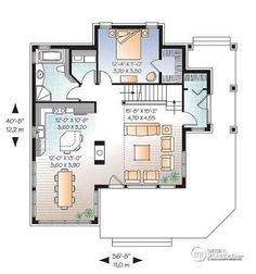 Rez-de-chaussée Maison style chalet panoramique avec chambre des maîtres au rez-de-chaussée, foyer, plancher à aire ouverte - Proventide