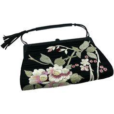 Pre-owned Gucci By Tom Ford Rare Embroidered Japanese Flower Style... (€1.025) ❤ liked on Polyvore featuring bags, handbags, gucci, black, tassel handbags, preowned handbags, hand bags, vintage handbags purses and tassel purse