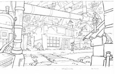 Art of Starnes: Animation Background Layout (Line) Manga Drawing Tutorials, Cartoon Drawing Tutorial, Cartoon Drawings, Cartoon Background, Animation Background, Art Background, House Colouring Pages, Bg Design, Interior Design