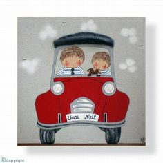 Cuadro infantil personalizado: Niños en coche (ref. 12085-01) Applique Quilts, Little People, Nursery Art, Baby Quilts, Cute Art, Art For Kids, Doodles, Christmas Ornaments, Holiday Decor