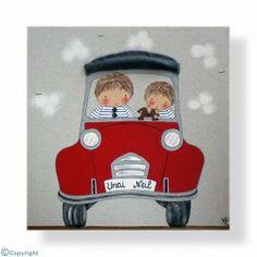 Cuadro infantil personalizado: Niños en coche (ref. 12085-01)