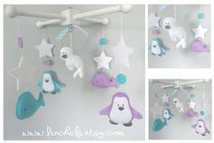 Baby Crib Mobile- Artic, Antartic Crib Mobile-Whale, Seal, Polar Bear, Penguin and snowfalke Mobile-Custom Made Mobile by LincKids on Etsy https://www.etsy.com/listing/249449266/baby-crib-mobile-artic-antartic-crib