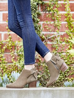 Olive suede booties with back bows | Sole Society Binx