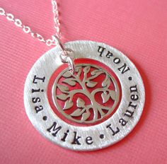 Personalized Family Names Hand Stamped with Tree by byHannahDesign, $56.00