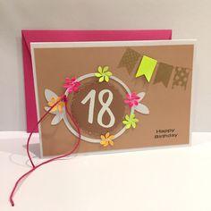 Glückwunschkarten - Geburtstagskarte zum 18. NEON & Embossing - ein Designerstück von POMMPLA bei DaWanda