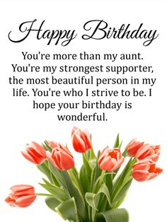 Send Free Pretty Tulip Happy Birthday Card for Aunt to Loved Ones on Birthday & Greeting Cards by Davia. It's free, and you also can use your own customized birthday calendar and birthday reminders. Happy Birthday Aunt From Niece, Birthday Quotes For Aunt, Happy Birthday Mother, Birthday Wishes For Mom, Aunt Birthday, Birthday Reminder, Cute Birthday Cards, Happy Birthday Pictures, Birthday Greeting Cards