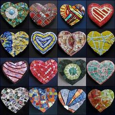 Colorful mosaic heart collection