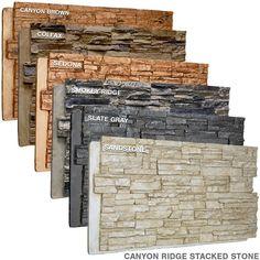 Canyon Ridge Acadia Ledge Stacked Faux Stonewall Siding x Urethane Wall Paneling Stone Siding Panels, Faux Stone Siding, Faux Stone Walls, Brick And Stone, Stone Veneer Exterior, Faux Stone Sheets, Faux Stone Fireplaces, Stone Veneer Panels, Stone Pillars
