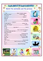 Practice using the simple past tense by completing the 2 fairy tales. Optional song for YL classes. (see http://www.youtube.com/watch?v=UIcJjCF5rWw for the video) - ESL worksheets