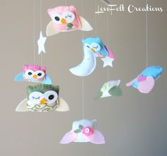 Baby Crib Mobile - Baby Mobile - Owl and birds mobile - Pottery Barn Brooke Bedding - Hayley Bedding. $120.00, via Etsy.