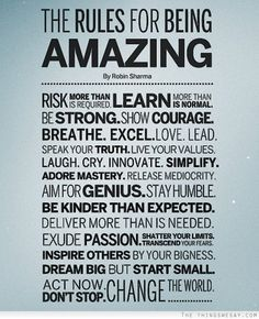 The rules for being amazing...