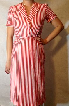 vintage red and white candy striper 50s style dress
