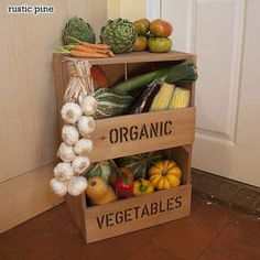 This large personalised wooden apple crate comes with a shelf and front slats, perfect as a retail display rack for displaying produce in a retail context. Large Wooden Crates, Wooden Apple Crates, Wooden Storage Crates, Crate Storage, Kitchen Storage, Toy Storage, Storage Ideas, Vegetable Storage Rack, Wooden Crate Furniture
