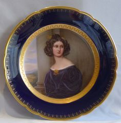 Antique Dresden Hand Painted Portrait Cabinet Plate Of A Young Woman By Franz Xaver Thallmaier  -  Austria   c.1827-1842