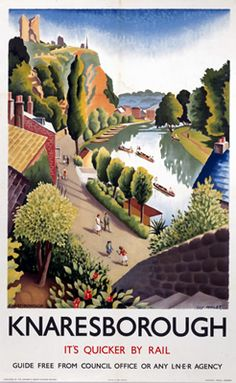 Knaresborough scenery North Yorkshire England Poster - decor gifts diy home & living cyo giftidea Posters Uk, Train Posters, Railway Posters, Illustrations And Posters, Poster Prints, Art Print, Giclee Print, British Travel, Travel Uk