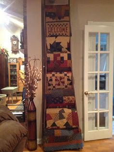 KT Winner Congratulations to AnnieO - you're the winner of the Primitive Quilts magazine featuring Friendship Garden by Pam Buda and I. Antique Ladder, Old Ladder, Quilt Ladder, Quilt Display, Primitive Quilts, Country Quilts, Quilt Patterns, Quilting Ideas, Farmhouse Style