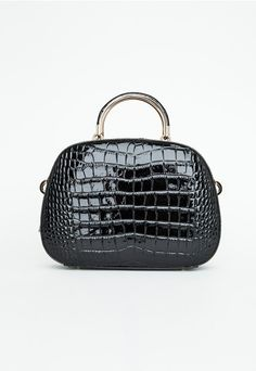 Joranda Black Patent Bag In Mock Croc - Accessories - Bags & Purses - Missguided