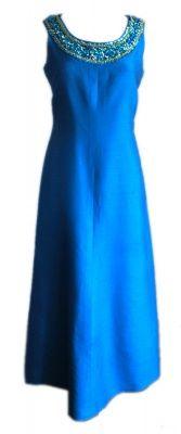 Vintage 1960s Susan Small Blue Shimmer Evening Dress