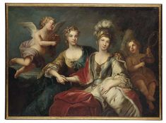 Follower of Michel van Loo, Allegorical portrait of Marie Leszczyńska, Queen of France and her daughter in law Maria Josepha of Saxony, Dauphine of France, c.1765