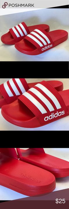 on sale 38bdb c9f70 Adidas Adilette Shower Slides Men s Red Slippers New with Tag Adidas  Adilette Shower Slides Men s size