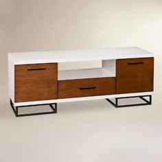 Inspiration for credenza restoration- White and Brown Cale Media Stand Media Furniture, Condo Furniture, Furniture Sets, Modern Contemporary Living Room, Contemporary Furniture, Mid Century Console, Console Cabinet, White Shelves, Affordable Furniture
