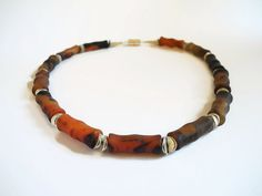 Brown red gemstone beaded choker necklace by FlorenceJewelshop, €90.00