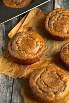 Vegan Flourless Banana Bread Muffins -- gluten-free, egg-free, refined sugar-free, dairy-free, and oil-free    runningwithspoons.com.