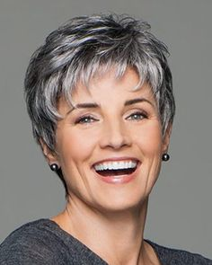 Incentive by Eva Gabor Wigs - Lace Front, Hand Tied, Monofilament Wig - Aktuelle Damen Frisuren Short Grey Hair, Short Hair With Layers, Short Hair Over 60, Layered Hair, Gray Hair, Short Blonde, Short Pixie Haircuts, Short Hairstyles For Women, Black Hairstyles