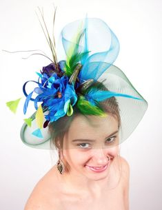 Green Fascinator Blue fascinator hat Green wedding fascinator EMERALD b5a9bb43d63