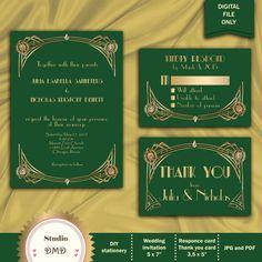 Great Gatsby Style Art Deco Wedding Invitation Suite by StudioDMD