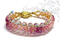 Blink Crazy Pink Swarovski Crystal Bracelet with flower gold magnetic clasp by CandyBead via Etsy