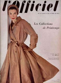 1952 Lucky in a silk surah shantung coat by Christian Dior, L'Officiel March