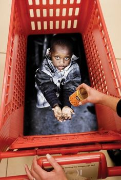 Powerful print inside a shopping cart to raise awareness.