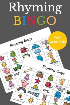 Rhyming Bingo Rhyming Bingo is a great way for kids to build phonological awareness skills. Perfect for preschool or kindergarten!Rhyming Bingo is a great way for kids to build phonological awareness skills. Perfect for preschool or kindergarten! Kindergarten Literacy, Early Literacy, Preschool Learning, Learning Activities, Teaching, Rhyming Words For Kindergarten, English Activities For Kids, Literacy Games, Nutrition Activities