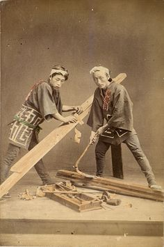 Two carpenters, Japan 1909. Album of Japanese Photographs. Wolcott Collection, Robert Hull Fleming Museum, University of Vermont,