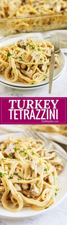 This easy Turkey Tetrazzini is a classic family recipe! This is the best way to use leftover Turkey (or chicken!) from Thanksgiving. It's creamy but still light and delicious to eat- it's the ultimate comfort food!