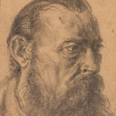"""Adolph von Menzel, Drawing """"Study of a Male Head"""", 1880/90 Pencil on paper"""
