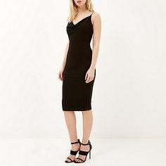 Black jersey drape neck cami dress - bodycon dresses - dresses - women