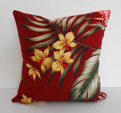Tropical Throw Pillow Cover, Red Hawaiian Print 12x12