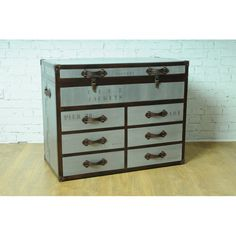 Extra large storage chest trunk Quest 6 Drawer Trunk Chest with Map industrial steel vintage trunk Call Smithers of Stamford 01780 435060 Steel Furniture, Bespoke Furniture, Vintage Furniture, Storage Trunk, Storage Chest, Industrial Design Furniture, Furniture Design, Trunk Table, Vintage Trunks