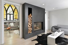 A double sided gorgeous fireplace in a single family residence that used to be a church. You don't see this everyday! Modern White Living Room, Home And Living, Family Room, Home And Family, Modern Family, Church Conversions, Living Room With Fireplace, Modern Fireplace, Fireplace Wall