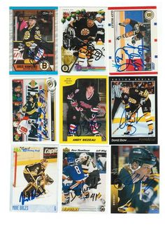 Boston Bruins Lot of 9 Autographed Cards. You will receive all cards in the picture. This Lot includes: Glen Wesley, Grigori Panteleyev, Andy Bezeau, Jon Rohloff, Mike Bales, David Shaw, Greg Hawgood, Dave Reid & Dave Thomlinson.
