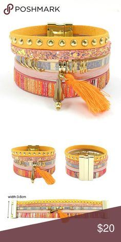 Orange Boho Leather Wrap Charm Bracelet Boho leather wrap bracelet with tassel charm feature and magnet closure.    WE1SJEOG71217 Jewelry Bracelets