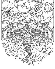 175 Best Elephant Coloring Pages For Adults Images On Pinterest In