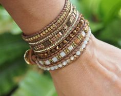 Roze mix wrap armband op Beige leer Boho armband door G2Fdesign