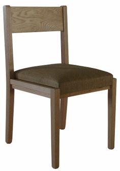 The Delton Chair in natural oak with a padded seat.