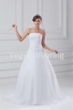 A-Line Strapless Summer Court Train Satin Organza Sweet Wedding Dresses -Wedding Dresses